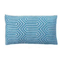 5 Surry Lane - Duralee Turquoise Blue Cut Velvet Geometric Lumbar Pillow - You can add this pillow to dress up your drab couch or throw it onto a bed already piled with fun colors. Its soft, velvety material and bright, cheery color is just what the interior design doctor ordered.