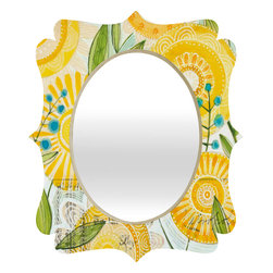 DENY Designs - Cori Dantini Sun Burst Flowers Quatrefoil Mirror - Mirror, mirror on the wall. Who's the fairest one of all? We'll that's easy, the quatrefoil mirror collection, of course! With a sleek mix of baltic birch ply trim that's unique to each piece and a glossy aluminum frame, the rectangular mirror makes you feel oh so pretty every time you catch a glimpse. Custom made in the USA for every order.