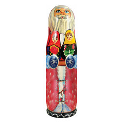 """Artistic Wood Carved Russian Matreshka Santa Claus Bottle Holder - Measures 15""""H x 4""""L x 4""""W and weighs 1.5 lbs. Open this Matreshka bottle holder from the middle to store a bottle of wine or vodka. It was created in the art villages of Russia and Ukraine. It is freehand painted and rich in color to our exacting standards for a lifetime of beautiful memories. This matreshka bottle holder is made to be hollow inside to hold a bottle of wine or vodka and makes a great gift for a housewarming party, wedding, anniversary, birthday or just for yourself to decorate your bar. It can be valued as a collectible. This item is beautifully handmade by a Eastern European artist. Each doll tells a story and is freehand painted in rich colors."""
