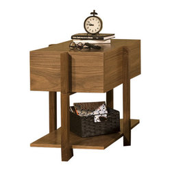 """Tucker Furniture - Max End Table - Features: -Solid wood framing and decorative elements.-Made in the USA.-Solid hardwood plywood construction.-Durable catalyzed wood finish protects wood from water, wine, food, hand lotion, most household products.-Max collection.-Collection: Max Collection.-Distressed: No.-Powder Coated Finish: No.-Gloss Finish: No.-Base Material: Hardwood solids.-Top Material: Hardwood solids.-Solid Wood Construction: Yes.-Number of Items Included: 1.-Hardware Material: Wood and metal glide.-Nesting Tables: No.-Non-Toxic: Yes.-UV Resistant: Yes.-Scratch Resistant: Yes.-Weather Resistant or Weatherproof: Not weather resistant.-Water Resistant or Waterproof: Water resistant finish.-Stain Resistant: Yes.-Lift Top: No.-Storage Under Table Top: No.-Drop Leaf Top: No.-Magazine Rack: No.-Built In Clock: No.-Drawers Included: Yes -Number of Drawers: 1.-Drawer Interior Finish: Natural finish.-Drawer Glide Material: Metal.-Drawer Glide Extension: 0.75 Extension glides.-Ball Bearing Glides: Yes.-Soft Close Drawer Glides: Yes.-Safety Stop : Yes.-Joinery Type: Pocket screws, glue and wood reinforcing blocks.-Drawer Handle Design: Finger pull..-Exterior Shelves: No.-Cabinets Included: No.-Glass Component: No.-Legs Included: No.-Casters: No.-Lighted: No.-Stackable: No.-Reclaimed Wood: No.-Adjustable Height: No.-Outdoor Use: No.-Weight Capacity: 200 lbs.-Swatch Available: Yes.-Commercial Use: Yes.-Recycled Content: No.-Eco-Friendly: Yes.-Product Care: Wipe with soft cotton cloth.-Country of Manufacture: United States.-Built In Outlets: No.-Powered: No.Specifications: -FSC Certified: Yes.-EPP Compliant: No.-CARB Compliant: No.-ISTA 3A Certified: No.-ISTA 1A Certified: No.-General Conformity Certificate: No.-Green Guard Certified: No.-ISO 9000 Certified: No.-ISO 14000 Certified: No.-UL Listed: No.Dimensions: -Overall Height - Top to Bottom: 24"""".-Overall Width - Side to Side: 21"""".-Overall Depth - Front to Back: 32.5"""".-Table Top Thickness: 0.75"""".-Drawer: -Drawer Int"""