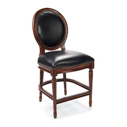 """Frontgate - Langston Counter-height Bar Stool (24""""H seat) - Solid hardwood frame. Top-grain leather seat and back. Lifetime-guaranteed swivel mechanism. Hand-tacked nailhead trim. Non-marring floor glides. Our finely crafted Langston Bar Stool brings a classic Louis XVI medallion chair to new heights. Elegant and easy, Langston features fluted legs and a cushioned seat and back, richly upholstered in coal-black top-grain leather. . . . . . Metal protected footrest. Arrives assembled."""