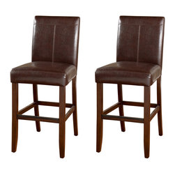 American Heritage - American Heritage Carla Transitional Bar Stool (Set of 2) - The contempory styling of the Carla-Brown is enhanced by the stiching in the back. The extra thick seat custion is sure to have you and your family comfortable for hours. What's included: Barstool (can only be purchased in sets of 2).
