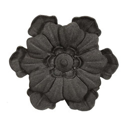 The Merchant Source - Metal Rod End Finial - Flower - Set of 2 (Black) - Finish: Black. Fashion is in full bloom with this attractive pair of curtain rod finials. Crafted from solid forged metal, each finial features a realistic flower design and is available in your choice of popular finishes. They're ideal for casual or traditional decors and designs. Set of 2. Made of Forged Metal. 4.25 in. L x 2.25 in. W x 4.25 in. H (5 lbs.)