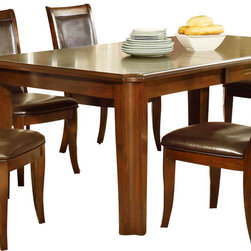 Homelegance - Homelegance Wolfe Rectangular Dining Table in Medium Brown - A timeless design for your casual dining room is the Wolfe collection. Concave accents carry from the substantial table legs through to the chairs in this transitional offering. The book match birch veneer of the table top is highlighted by the medium brown finish. Further complimenting the finish is the dark brown bi-cast vinyl that covers the seat and back of the uniquely framed chair.