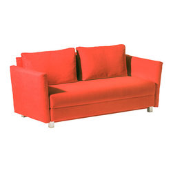 Franz Fertig - Giorgio Sofa Bed from Franz Fertig - GIORGIO offers various different ways for relaxing in its most refined form. The backrest can be adjusted separately, 2 adjustable armrests, 2 armrest cushions (not seen on the pictures). Red microfiber.