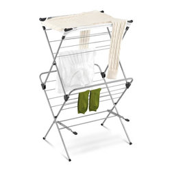 Honey Can Do - 2-Tier Mesh Top Drying Rack 33 Linear Feet - 33 feet of drying space- maximum drying in minimum space. Coated steel frame- sturdy and rustproof. Mesh top- lay sweaters and other items flat to dry. Folds to 2 inches deep- easy storage. 23.62 in. x 20.08 in. x 39.37 in.