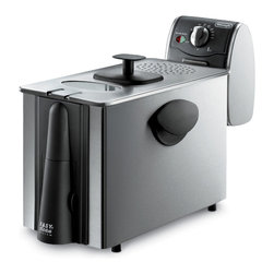 """Delonghi - Deep Fryer - DeLonghi's D14522DZ Dual Zone Stainless Steel Deep Fryer has ample space that allows food to fry evenly and completely, for delicious results every time. Its generous capacity makes the dual zone deep fryer perfect for meals and families of all sizes. The """"cool zone"""" located beneath the heating element, prevents food from burning. This unique technology reduces odor and keeps oil clean, for tasty fried food every time. This ingenious system makes draining and recycling cooking oil safe and easy. Simply open the door on the front of the unit and drain oil through the tube into a storage container. Handy control allows you to set frying temperature, giving you the flexibility to fry foods just the way you like them.3 lb. food capacity (4 liters oil)