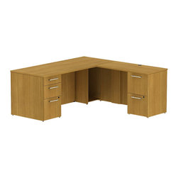 "Bush - Bush 300 Series 72"" L-Shape 2-Pedestal Desk Set in Modern Cherry - Bush - Commercial Grade Office - 300S025MC -Transitional, classic styling fits ideally in any residential, commercial or office environment with the Bush Modern Cherry 300 Series 72""W x 30""D Single Pedestal L Desk (B/B/F) with 42""W Return (F/F).Larger top surface and return offer plenty of workspace. Two box drawers and one file drawer in the pedestal store files or office supplies. The 42"" Return features two file drawers on fully extendable drawer slides for easy access to back. All file drawers accommodate letter- legal or A4-size files. Wire grommets control unsightly cords and cables, keeping desk and return surfaces clutter-free. Return complements the desk and offers additional storage at your fingertips. Rich, Mocha Cherry finish fits beautifully in executive spaces. Tough, rugged work surfaces resist scratching, stains, dings and dents, looking good for years. Includes BBF Limited Lifetime warranty."