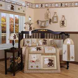 "Geenny - Boutique Teddy Bear 13 Piece Crib Bedding Set - This listing is for a 13 piece beautiful Geenny brand new crib set with all the bundle you will need. This set is made to fit all standard cribs and toddler beds. The whole set comes with 10 pieces plus 3 new wall art decor hangings, which comes out as a total 13 piece bundle. The set is made by Geenny Designs, well known as Nursery Series Products Designs. All bundled pieces are in a brand new zippered, handled carrying bag. Dress up and decorate your baby's room with this beautiful 13 piece crib bedding set. Features: -Set includes: Crib quilt, two valances, skirt, crib sheet, bumper, diaper stacker, toy bag, two pillows, three wall hangings. -Material: 65 / 35 Percent of Polyester / Cotton. -Crib quilt: 45"" H x 36"" W. -Crib bumper: 10"" W x 158"" D. -Fitted crib sheet: 52"" H x 28"" W. -Window valances: 16"" H x 58"" W. -Crib skirt: 28"" H x 52"" W. -Toy bag: 20"" H x 14"" W. -Decorative accent pillows: 10"" H x 10"" W. -Machine washable."