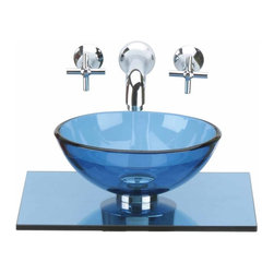 """Renovators Supply - Glass Sinks Blue Glass Sink Counter Mini Vessel 