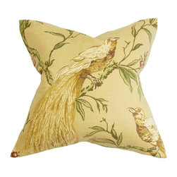 """The Pillow Collection - Giulia Floral Pillow Yellow Green 20"""" x 20"""" - Provide long lasting comfort to your living room or bedroom with this chic throw pillow. This accent pillow comes with a flora and fauna theme. A bird perched on top a branch is highlighted in this square pillow. The pillow's bright hues of green and yellow will instantly brighten up your space. Made of 55% cotton and 45% linen material, this 20"""" pillow is easy to clean and maintain. Hidden zipper closure for easy cover removal.  Knife edge finish on all four sides.  Reversible pillow with the same fabric on the back side.  Spot cleaning suggested."""
