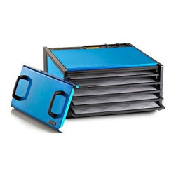Excalibur D500RR 5 Tray Food Dehydrator with Timer - Radiant Blue - The Excalibur D500RRS 5 Tray Food Dehydrator with Timer – Radiant Blue is designed for outstanding style and functionality. This attractive appliance comes with five spacious trays for quality dehydrating. It's made of a durable polycarbonate material and features patented Excalibur Parallex Horizontal Air Flow and Hyperwave Fluctuation Technology that quickly and efficiently heats and dries your foods. Other features include a built-in timer, adjustable thermostat, and Preserve It Naturally, an excellent book with 192 color pages that provides you everything on using dehydrators along with many recipes, as well as The Guide to Dehydration, a 28-page book with How Toguide and tips.About Excalibur ElectronicsNamed for King Arthur's legendary magical sword, Excalibur Electronics strives to bring the most original and innovative products to the world. Their cutting-edge products cover a wide range of categories, including electronics, science and learning, games and arcade, flashlights, outdoor living, and home and office. Excalibur is located in Miami, Fla.