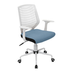 "Lumisource - Network Office Chair, White/Smoked Blue - 22"" L x 25"" W x 36.6 - 39.5"" H"