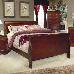 Coaster - Louis Philippe Eastern King Size Bed - Louis Philippe bedroom set made from selective hardwood and veneers in a cherry finish. Features include metal glides, and antique brass metal handles.
