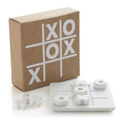 Marble Tic Tac Toe Set - Marble play set elevates the common game of tic-tac-toe to chess-set status in gorgeous white marble. Solid white pieces move on a clean square, carved with a grid. A beautiful accent at play or on display.