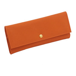 WOLF - Brighton Jewelry Roll, Orange - Add a pop of color with the Brighton collection. Each case features a rich, saffiano leather exterior in orange, cream, or black and a contrasting plush interior.  This travel-ready companion is perfect for when you need your accessories on the go. The interior contains two zip-close compartments and a snap closure.