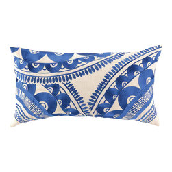 """Trina Turk - Trina Turk Tribal Blue Embroidered Pillow - An exotic labrynth-style pattern sweeps across the Tribal throw pillow creating a bold modern accent. Embroidered in royal blue, this vibrant decorative pillow adds a blaze of color to a sofa or chair. 26""""W x 14""""H; 100% linen pillow with embroidered detail; Down fill insert included; Hidden zipper; Dry clean only"""