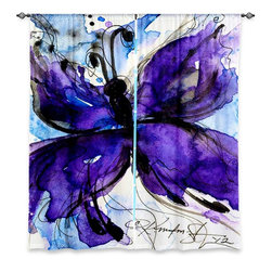 """DiaNoche Designs - Window Curtains Unlined - Kathy Stanion Butterfly Song IV - DiaNoche Designs works with artists from around the world to print their stunning works to many unique home decor items.  Purchasing window curtains just got easier and better! Create a designer look to any of your living spaces with our decorative and unique """"Unlined Window Curtains."""" Perfect for the living room, dining room or bedroom, these artistic curtains are an easy and inexpensive way to add color and style when decorating your home.  The art is printed to a polyester fabric that softly filters outside light and creates a privacy barrier.  Watch the art brighten in the sunlight!  Each package includes two easy-to-hang, 3 inch diameter pole-pocket curtain panels.  The width listed is the total measurement of the two panels.  Curtain rod sold separately. Easy care, machine wash cold, tumble dry low, iron low if needed.  Printed in the USA."""