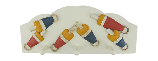 Zeckos - 3 Hook Nautical Float Theme Wall Mounted Clothes Rack - This great wall mounted, 3 hook clothing hanger features a nautical theme, consisting of 6 old fishing floats. Made of cold cast resin, the rack measures 15 3/4 inches wide, 6 1/2 inches tall and 1 1/2 inches deep. The hooks can hold up to 5 pounds each, perfect for light jackets, scarves and towels. Each hook has a rounded on the tip, so it won't snag your clothing. It makes a great gift for the surf fanatic in your family.
