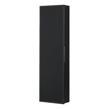 Macral - Cuero wall Linen Cabinet. Caw leather in Front. Black - Sleek simplicity and the luxury of black leather — what a stylish way to store your linens. This wall-mounted cabinet imported from Spain defines modern elegance for your personal space.