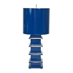 Worlds Away Pagoda Table Lamp, Navy Blue - Worlds Away Navy Blue Pagoda Lamp