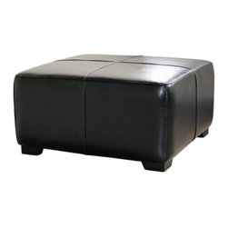 Baxton Studio Hortensio Square Leather Ottoman - Black - Maximize comfort in your living space with the Baxton Studios Hortensio Square Leather Ottoman - Black. Upholstered in black bi-cast leather, this square ottoman looks right at home in any decor. Use it as a foot rest, side table, or extra seating for your guests. The top is filled with high-density foam padding for comfort, while the sturdy frame is constructed with kiln-dried hardwood and solid rubberwood legs. Panel stitching and clean lines enhance the warm, contemporary style.About Baxton StudiosThis item is designed and manufactured by Wholesale Interiors, Inc., a furniture company based near Chicago. A lot goes into the making of furniture, and it all starts with attention to details. They hand select their unique line of leather and micro-fiber fabrics. Their furniture is padded with high polyurethane foam to create the body contouring comfort and support for which Baxton Studios is famous. All frames are constructed of high quality wood or steel on select models, providing sturdy frame construction that exceeds industry standards. Wholesale Interiors, Inc. is committed to constantly providing stylish and unique furniture for the best value to help you create a comfortable living space with ease and confidence.