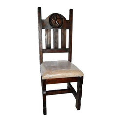 Million Dollar Rustic - Chair w Padded Seat in Espresso Finish - Set of 2 - Set of 2. Standard chair with star carving on back. Warranty: One year. Made from white pine. 17 in. W x 18 in. D x 45 in. H (16 lbs.)
