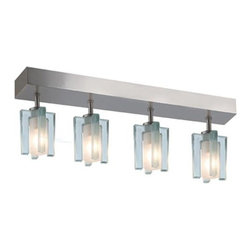 Jesco Lighting Group - Akina Satin Nickel Four-Light Sem-Flush with Clear-Frosted Glass - -Built in Electronic Transformer  -Clear-Frosted Glass  -12 volts  -Bulb(s) Included Jesco Lighting Group - CM301-4R