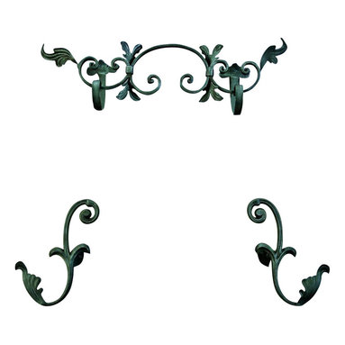 The Merchant Source - Top Treatment with Holdbacks - Banded Scroll - Set of 3 (Bronze) - Finish: Bronze. Treat your windows to an enhanced decor. This attractive arrangement includes 3 total pieces, each with graphic, banded scrolls and delicate attention to detail. The centerpiece is flanked with a pair of holdbacks. The metal set comes complete with your choice of finish colors. Set of 3. Pictured in Black finish. Made of Forged Metal. 29 in. L x 4 in. W x 14.5 in. H (7 lbs.)