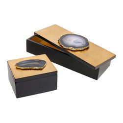 Carina Necklace Box - Gold Leaf with Smoke - Opulent yet neutral in chic smoky grey against a field of brilliant metallic gold, this elegant luxury, the Carina Necklace Box with gold leaf and smoky natural agate, highlights the traditional beauty of authentic gemstone against a polished yet understated setting. Ideal for holding pens on a desk or for safely stashing jewelry in the proper layout, this dark box with its updated gemstone and precious metal adornment is ever-appropriate.