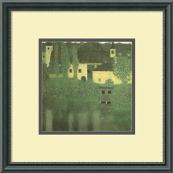 Amanti Art - Schloss Unterach on the Attersee Framed Print by Gustav Klimt - Take your favorite painting out of the art books and onto your wall, with this stunning framed print of the iconic Gustav Klimt work, Schloss Unterach on the Attersee. Custom matted and framed in black wood with thin inner beading and a sophisticated patina, this print will project calm and vibrant color into your decor.