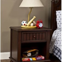 Westfield 1 Drawer Nightstand - Espresso - Equally at home in the bedroom of a young child or teen the Westfield 1 Drawer Nightstand - Espresso is inspired by classic cottage styling and features bead board details and bold and beautifully sculpted feet. Finished in cozy espresso this youthful nightstand features a single drawer and an open shelf below for storage. About Hillsdale FurnitureLocated in Louisville Ky. Hillsdale Furniture is a leader in top-quality affordable bedroom furniture. Since 1994 Hillsdale has combined the talents of nationally recognized designers and globally accredited factories to bring you furniture styling and design from around the globe. Hillsdale combines the best in finishes materials and designs to bring both beauty and value with every piece. The combination of top-quality metal wood stone and leather has given Hillsdale the reputation for leading-edge styling and concepts.