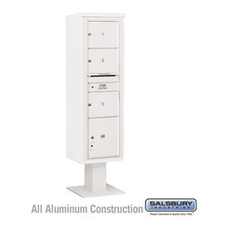 Salsbury Industries - 4C Pedestal Mailbox (Includes 13 Inch High Pedestal and Master Commercial Locks) - 4C Pedestal Mailbox (Includes 13 Inch High Pedestal and Master Commercial Locks) - Maximum Height Unit (72 Inches) - Single Column - 3 MB3 Doors / 1 PL - White