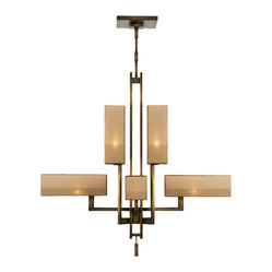 Fine Art Lamps - Perspectives Bronze Chandelier, 734240ST - Bring an art deco vibe to your favorite setting with this sleek yet dramatic chandelier. With either a muted silver-leaf or golden bronze finish and multitonal organza shades, it emits rich, warm illumination.