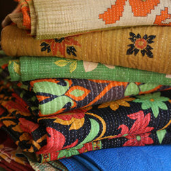 "Vintage - Vintage throws made with traditional kantha stitch,beautiful bright color sarees.70""x60"""