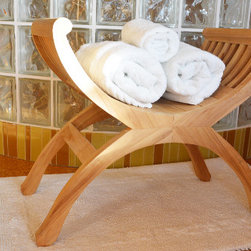 Teak Shower Stool for Bathroom and Spa - This stool adds style to your bathroom due to its exquisite design. It is very comfortable to sit in whle in the shower. It can also be used as a side table for towels etc. This handcrafted teak bench is built to last.