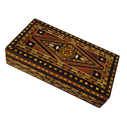 Mohavy - Unique Handmade Vintage Mother of Pearl Mosaic Inlaid Wood Jewelry Box - Black, white, green, red, gold and brown are the colors in this beautiful handmade box.