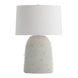 Arteriors - Arteriors Home - Orrick Tall Lamp - 17994-893 - The inspired tactile surface is composed of hundreds of irregular ceramic spikes, some short and some a bit longer, strategically placed to create a lamp that will be hard to ignore. The glossy white glaze keeps it fresh and clean and modern. The white microfiber oval shade is lined. Matching ceramic finial.