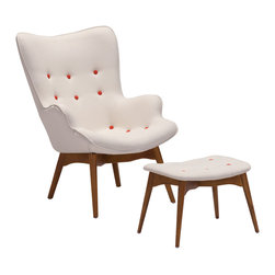 Zuo - Antwerp Occasional Chair & Ottoman - The Antwerp Occasional Chair & Ottoman is a classic and comfortable mid-century style with a modern twist. Both the chair and ottoman feature a durable polyblend fabric, with a subtle pop of color from persimmon orange buttons. The chair's comfortably reclined shape sits atop a solid wood base in a natural walnut stain. Place the Antwerp Occasional Chair & Ottoman in your living room or reading nook for hours of relaxation.  Pair with our other natural walnut pieces, or add to a clean modern arrangement to add warmth. The Antwerp Occasional Chair & Ottoman are sure to be the favorite seat in your modern home or office.