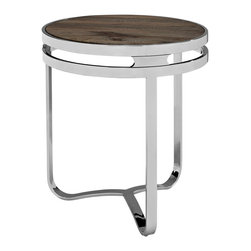 Provision Wood Top Side Table - Stow your most essential conversational belongings on this industrial modern side table. Provision is constructed of stainless steel and a pine wood top for a synergistic blend of nature and industry. Provisions two-tiered rim reminds us that even in an era of progress, we must always endeavor to keep our aspirations close to the ground.