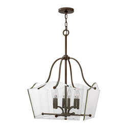 Hinkley Lighting - Wingate 20 in. 6-Light Dinette Chandelier - Wingate offers tradition with a twist: clear floating beveled glass panels surround understated cast round candle cups and candle sleeves. This 4 light fixture in an Oil Rubbed Bronze finish has a modern yet classic style.