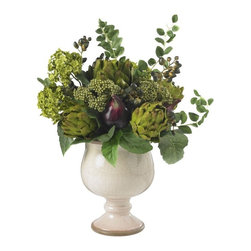 """Artichoke and Hydrangea Silk Flower Arrangement - No one could say that you don """"t have a flair for the unique and the creative when you surprise them with this lovely Artichoke and Hydrangea arrangement. These two plants merge quite well to complement each other in a spectacular blend of color and form. The ease of care and ability to fit into any type of decor helps to enhance its tasty appearance. Height= 15 in x Width= 17 in x Depth= 16 in"""