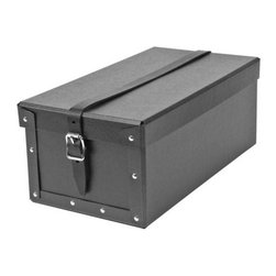 Bigso - Bigso Strap Storage Box - Graphite, Set of 2 - Line our graphite Strap Storage boxes all in a row and you'll be beautifully organized. Constructed of recycled fiberboard and a leather belt strap, these multi-purpose covered boxes are ideal for the closet, office or under the bed.