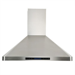 Cavaliere - Cavaliere-Euro AP238-PS31-36 Stainless Steel Wall Mount Range Hood - Cavaliere Stainless Steel 288W Wall Mounted Range Hood with 4 Speeds, Timer Function, LCD Keypad, Stainless Steel Baffle Filters, and Halogen Lights