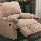 Coaster - 35 in. Casual Rocker Recliner (Light Brown) - Choose Upholstery: Light BrownPlush microfiber upholstery. Plush pillow arms. Broad pillow back provide truly comfortable seating. Attached back. Recessed exterior handle. Provides easy open and closure of the reclining mechanism without interfering with the overall style of the chair. Wrapped chaise lifts up to cradle legs and feet. Seat depth: 20.5 in.. Overall: 35 in. L x 35 in. W x 40 in. H. WarrantyIntroduce casual style and unsurpassed comfort into any room of your home with the casual recliner. Place in your living room or den for stylish comfort, tuck into a corner with a floor lamp for a cozy reading corner.