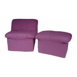 Fun Furnishings Purple Canvas Kids Cloud Chair & Ottoman - The Fun Furnishings Purple Canvas Kids Cloud Chair & Ottoman is the perfect finishing touch to your daughter's room. Made of 100 percent cotton with fire-retardant foam in a shade of purple she will adore, this chair and ottoman give her the perfect place to ready, study, watch TV or even listen to music. Built in the USA, this chair and ottoman were designed for ages six to 13.About Fun FurnishingsThis company was created in 1993 in response to a need for more furniture choices for kids who had outgrown cribs. Top quality foam sofa and chair sleepers were Fun Furnishings' debut pieces. They were an instant hit on the market. Since then, the company has expanded their innovative designs and continues to create delightful, quality furniture for all kids.
