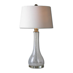 Uttermost - Tesino Glass Table Lamp - Clear glass with frosted spiral stripes accented with polished nickel plated details and a crystal foot. The round hardback shade is a white linen fabric.