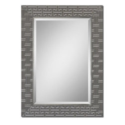 Uttermost - Cacema Gray Mirror - Frame Features A Textured Wrap Over Wood With An Ash Gray Finish And Metallic Silver Details. Mirror Has A Generous 1 1/4 in.  Bevel. May Be Hung Either Horizontal Or Vertical.