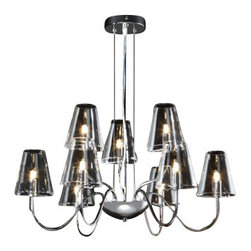 """Schuller - Schuller Silba 9 Chandelier - The Silba 9 Chandelier has been made by Schuller in Spain.  This chandelier collection was made of metal and bright chrome finish, clear glass shades  The lamping comes with 9 X G9 max 42W halogen bulbs (Not included)   The Silba 9 Chandelier has been made by Schuller in Spain.  This chandelier collection was made of metal and bright chrome finish, clear glass shades  The lamping comes with 9 X G9 max 42W halogen bulbs (Not included)      Manufacturer: Schuller   Designer: Schuller    Made in: Spain    Dimensions:  Height:14.17"""" (36 cm) X Depth:26.77"""" (68 cm) X Width:26.77"""" (68 cm)      Lamping:  9 X G9 max 42W halogen bulbs (Not included)     Material: Metal,  glass"""