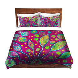 DiaNoche Designs - Duvet Cover Twill - Flower Power - Lightweight and soft brushed twill Duvet Cover sizes Twin, Queen, King.  SHAMS NOT INCLUDED.  This duvet is designed to wash upon arrival for maximum softness.   Each duvet starts by looming the fabric and cutting to the size ordered.  The Image is printed and your Duvet Cover is meticulously sewn together with ties in each corner and a concealed zip closure.  All in the USA!!  Poly top with a Cotton Poly underside.  Dye Sublimation printing permanently adheres the ink to the material for long life and durability. Printed top, cream colored bottom, Machine Washable, Product may vary slightly from image.